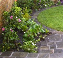 Traditional planting in cobbled courtyard - West Kirby, Wirral